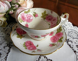 Vintage Pink Roses with Bumble Bee Teacup and Saucer Signed - The Pink Rose Cottage