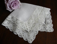 Vintage French Alencon Lace with Roses Linen Bridal Handkerchief - The Pink Rose Cottage