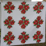 Vintage Red Christmas Poinsettia Tablecloth - The Pink Rose Cottage