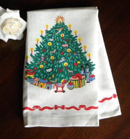 Unused Vintage Christmas Tree with Presents Tea Towel - The Pink Rose Cottage