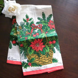 Unused Vintage Christmas Poinsettia and Evergreen Basket - The Pink Rose Cottage