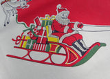 Vintage Merry Christmas Tablecloth with Santa Claus and His Reindeer