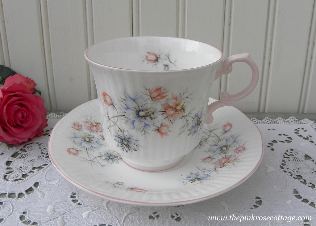 Vintage Queen's China Pink and Blue Bachelor Buttons Teacup and Saucer