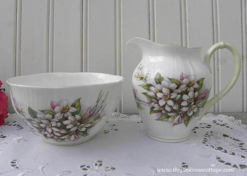 Vintage Royal Albert Blossom Time Series Orange Blossom Sugar and Creamer