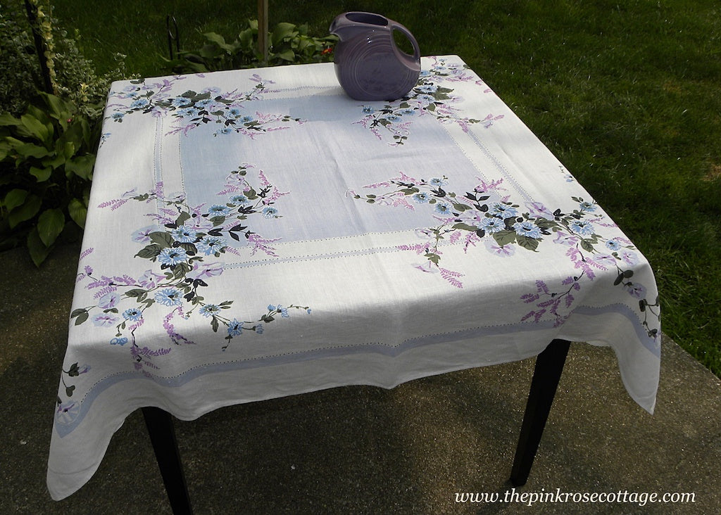 Vintage Purple and Blue Morning Glories Floral Tablecloth