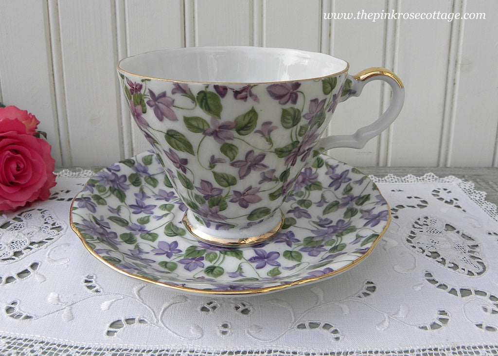 Vintage Lefton Violet Chintz Teacup and Saucer