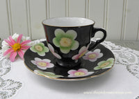 Vintage Demitasse Teacup and Saucer Black with Colorful Daisies
