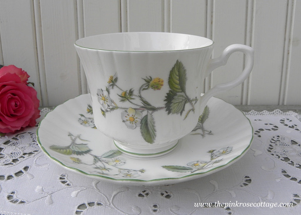 Vintage Royal Stafford Strawberry Blossoms Teacup and Saucer