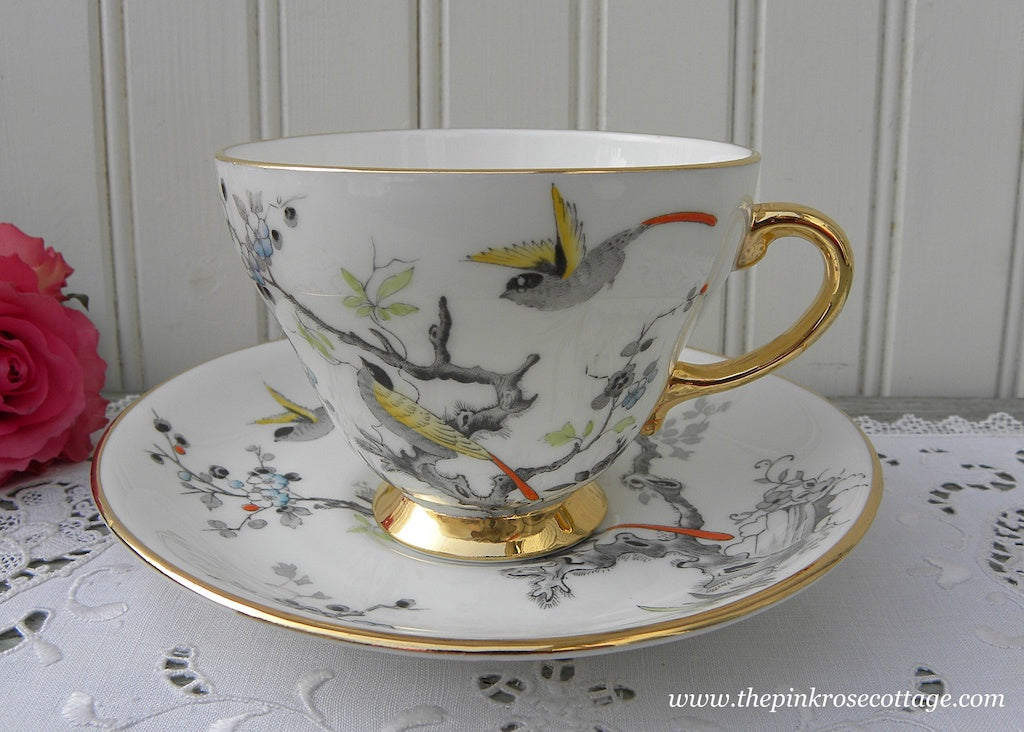Vintage Royal Grafton Oriental Birds in Tree Teacup and Saucer