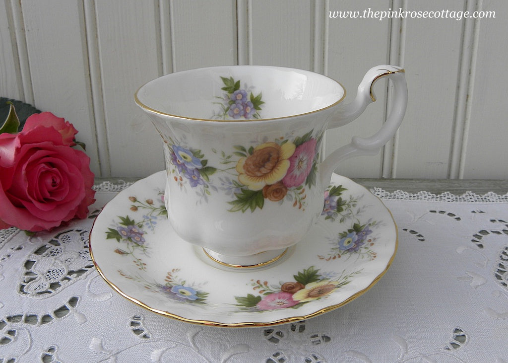 Vintage Royal Adderely Demitasse Teacup and Saucer Pink Roses and Wildflowers