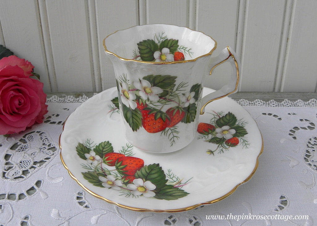 Vintage Hammersley & Co Strawberry Ripe Blossom Demitasse Teacup and Saucer