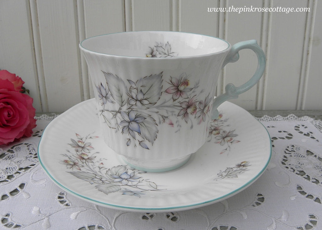 Vintage Queen's China Blue Bachelor Buttons Teacup and Saucer
