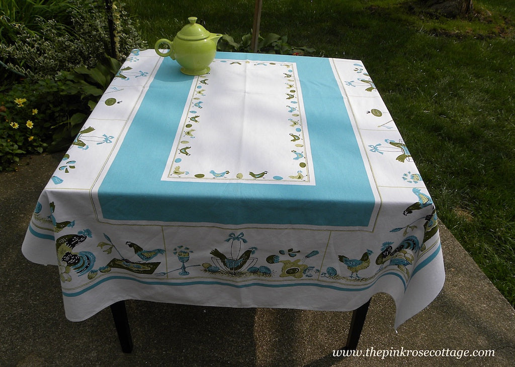 Vintage Teal Chicken Hen Rooster Chicks Eggs Tablecloth