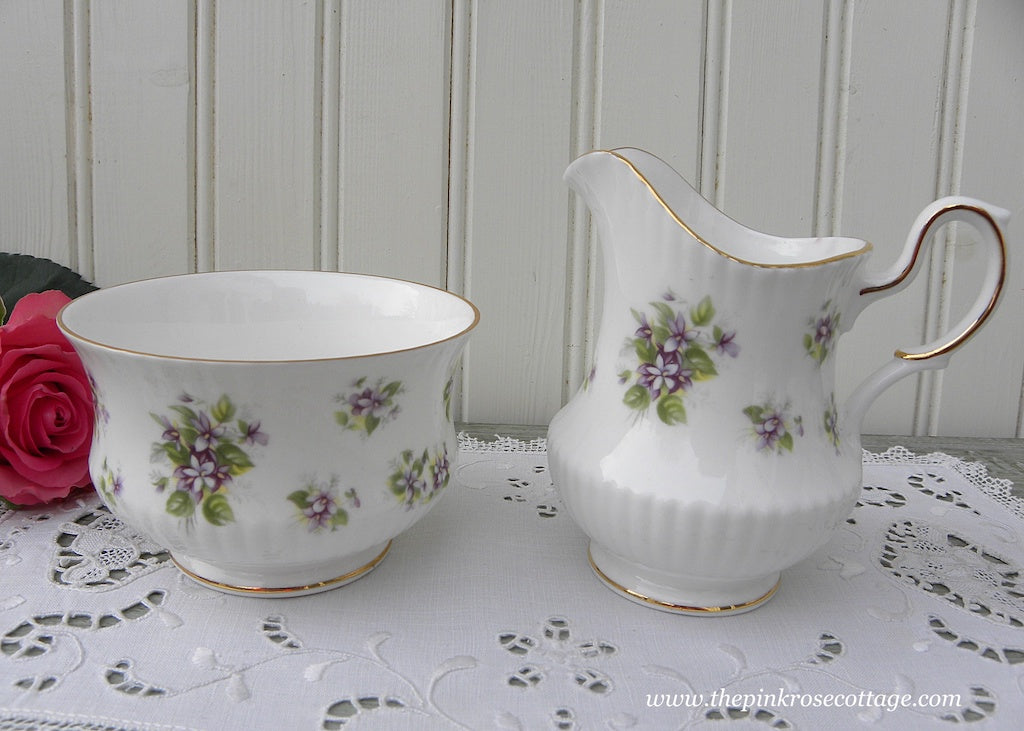 Vintage Queen's Countryside Series Violet Sugar and Creamer