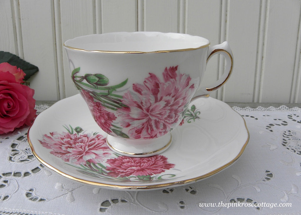 Vintage Pink Carnations Teacup and Saucer