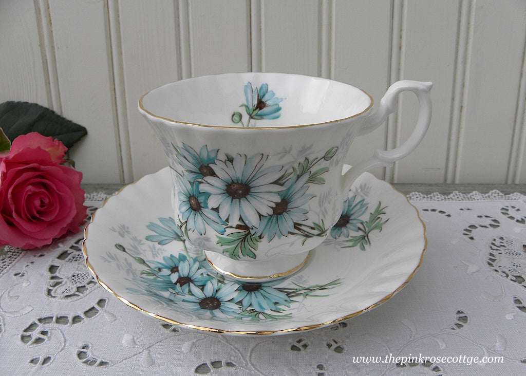 Vintage Royal Albert Marguerite Blue Daisy Teacup and Saucer