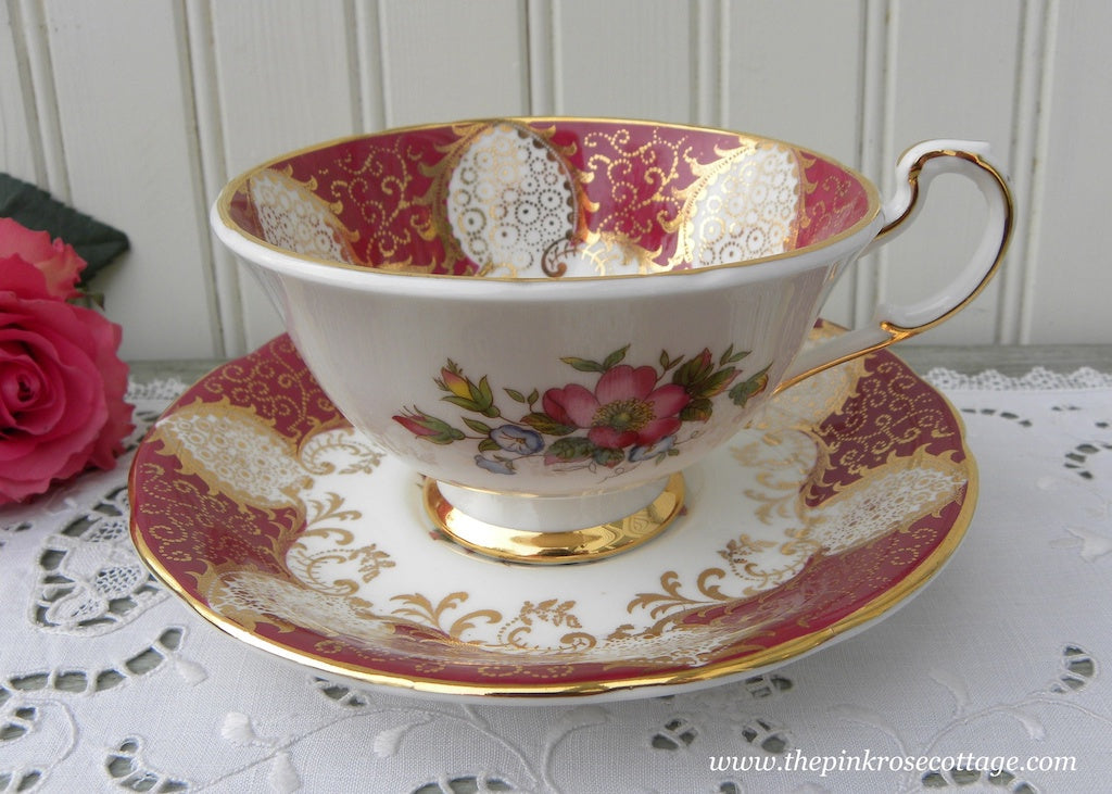Vintage Paragon Burgundy Teacup and Saucer with Wild Roses