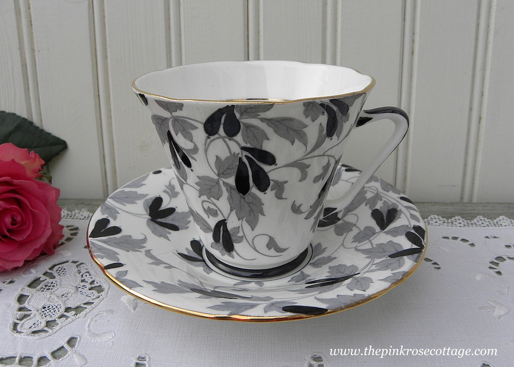 Vintage Royal Grafton Art Deco Black and White Teacup and Saucer