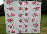 Vintage Wilendur Pink and Red Phlox Tablecloth