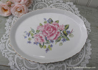 Shabby Chic Victoria's Garden Pink Roses and Violets Vanity Tray - The Pink Rose Cottage