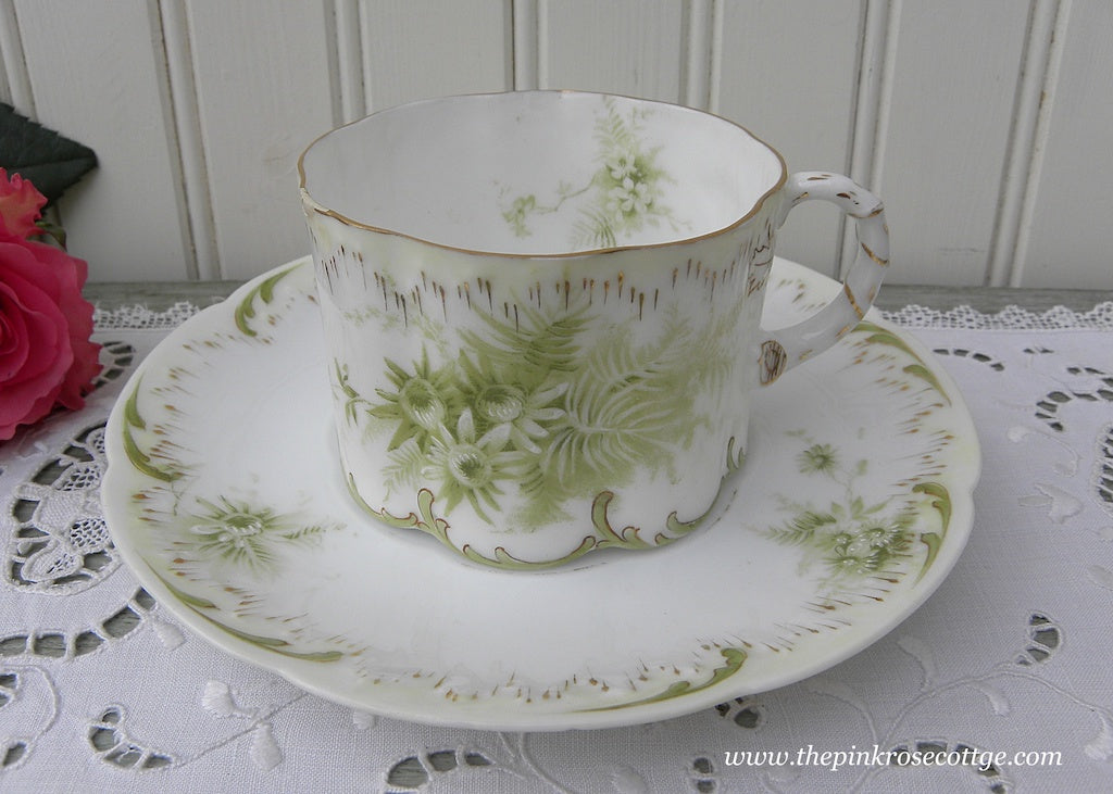 Antique Monbijou German Teacup and Saucer Green Daisies