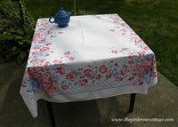 Vintage Pink Red and  Blue Morning Glory Wild Roses Lattice Tablecloth