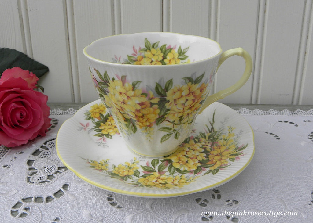 Vintage Royal Albert Blossom Time Series Laburnum Demitasse Teacup and Saucer