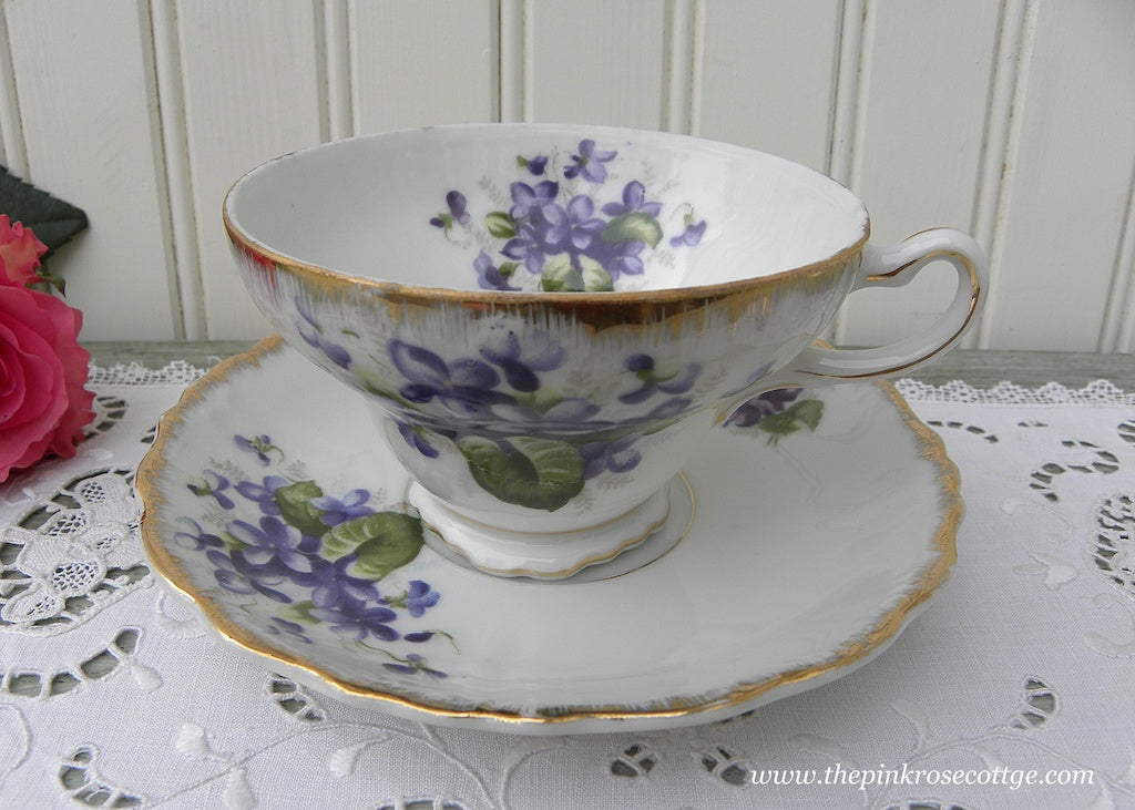 Vintage Napco Cottage Violets Teacup and Saucer