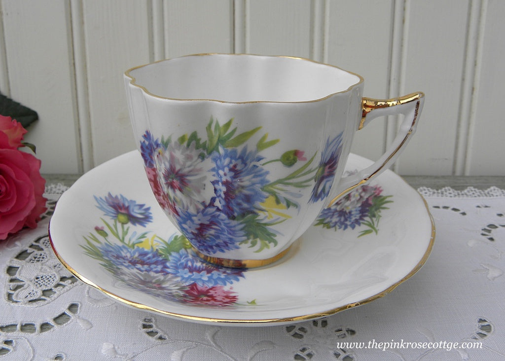 Vintage Pink and Blue Bachelor Button Teacup and Saucer