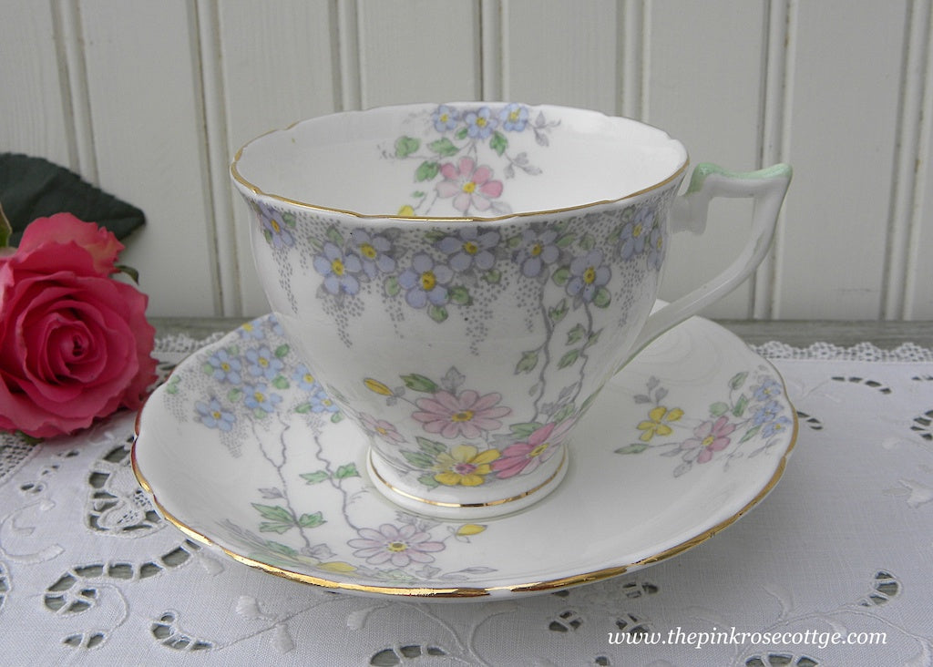 Vintage Wellington China Daisies and Forget Me Not Floral Teacup and Saucer