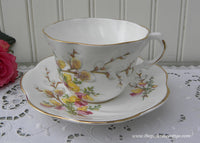 Vintage Pink Freesia and Pussy Willow Teacup and Saucer