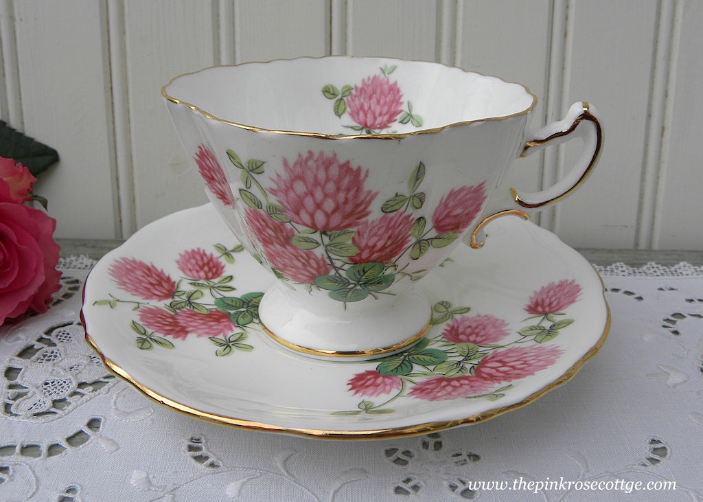 Vintage Pink Clover and Shamrocks and Four Leaf Clover Teacup and Saucer