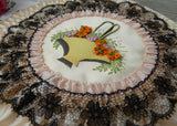 Antique Satin Lace Ribbon Embroidery Handkerchief Holder Bridal