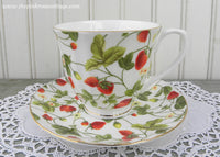 Stechcol Gracie Bone China Strawberries and Strawberry Blossom Teacup