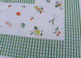 Vintage Tablecloth Plaid with Veggies Pumpkins Fruits and More