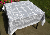 Vintage Reverse Print Gray and White Tablecloth with Bows Daisies and Roses