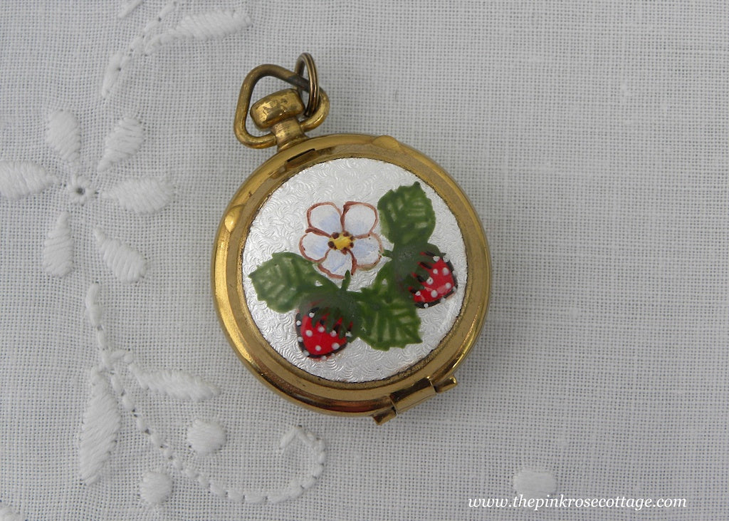 Vintage Strawberry Guilloche Pillbox