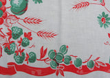 Vintage Jadite Green and Red Farm Fresh Fruit Tablecloth