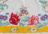 Vintage E/S Town & Country Tablecloth Yellow Border with Pink Blue and Yellow Poppies