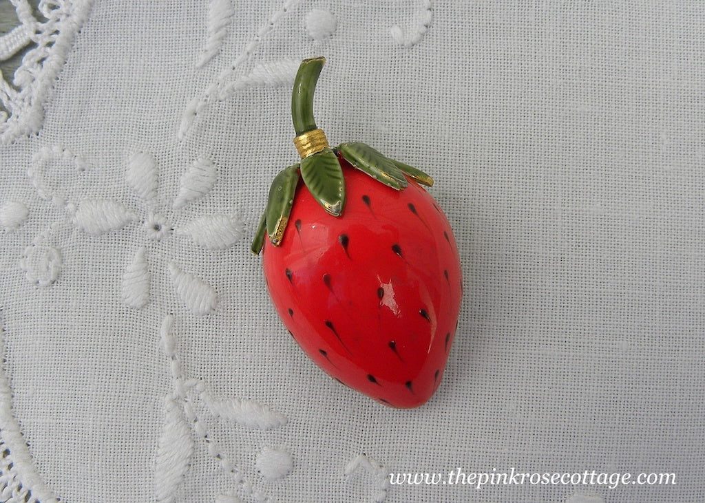 Vintage Signed Original By Roberts Enameled Strawberry Brooch Pin