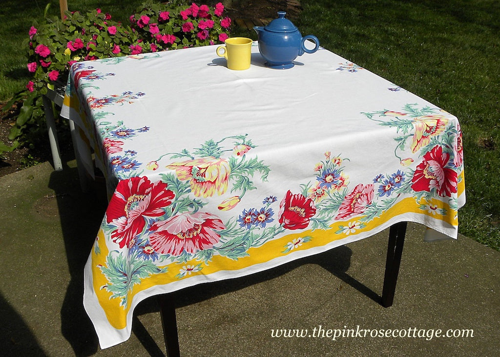 Vintage E/S Town U0026 Country Tablecloth Yellow Border With Pink Blue And  Yellow Poppies