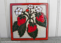 Vintage Hand Painted Terra Cotta Strawberry Tile Trivet Italy