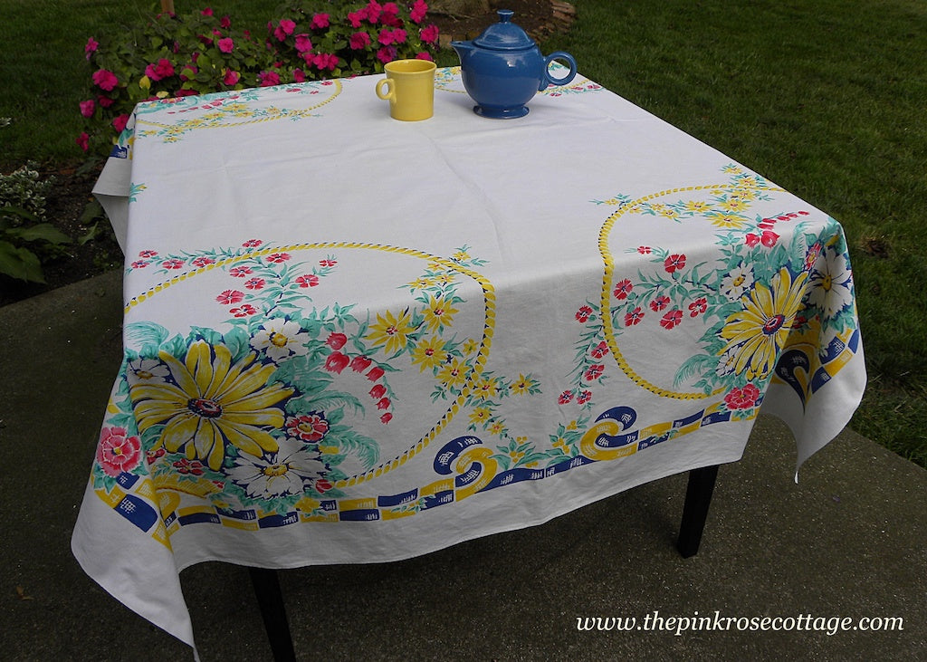Vintage Tablecloth Baskets of Sunflowers Daisies and More with Ribbons
