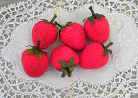 Small Beaded  Vintage Strawberry Ornaments
