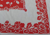 Vintage Springmaid Red and White Flowered Tablecloth