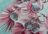Vintage Christmas Winter Pink and Teal Pinecones Tablecloth