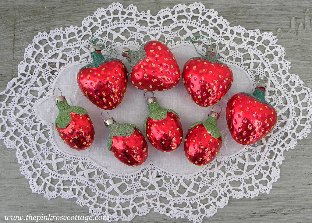 Vintage Glass Strawberry Ornaments Czechoslovakia