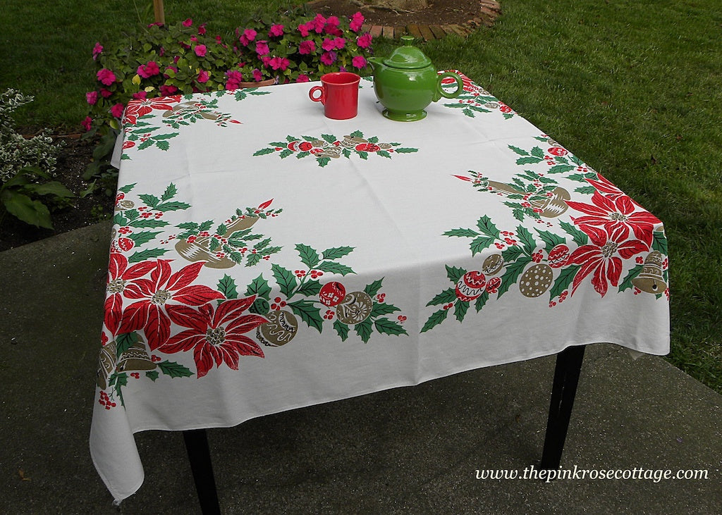 Vintage Christmas Tablecloth with Candles Poinsettia and Shiny Brite Ornaments