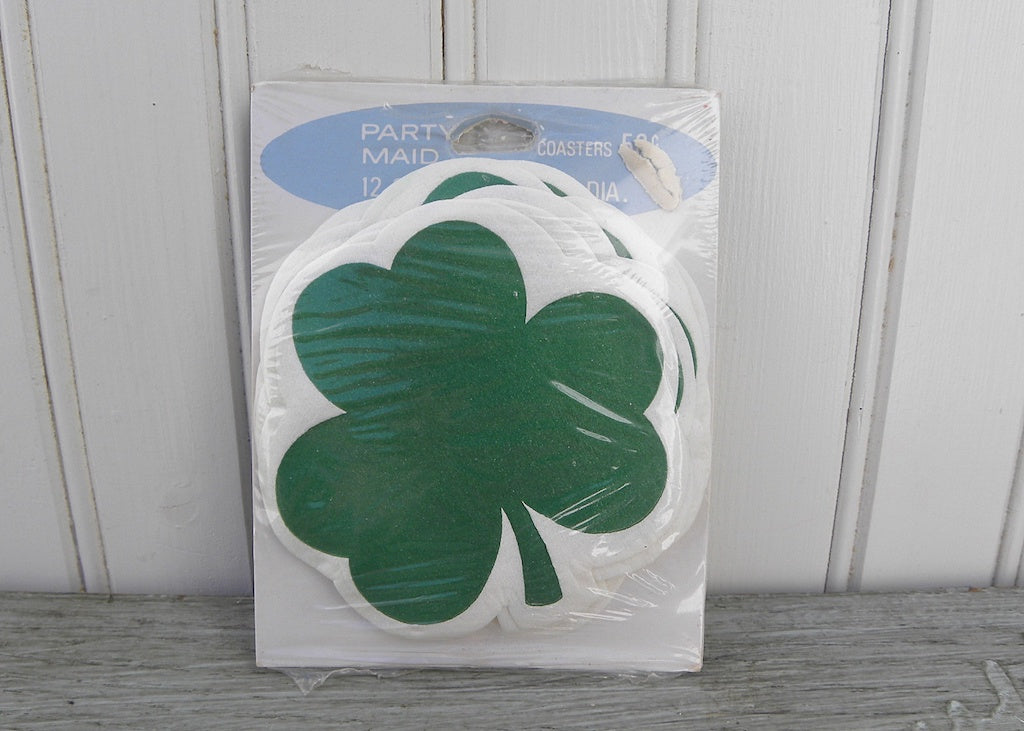 NIP Vintage Party Maid Paper St. Patrick's Day Shamrock Coasters