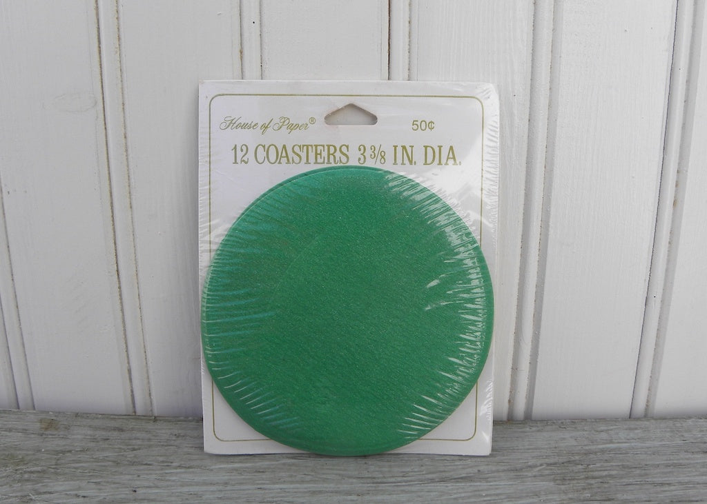 NIP Vintage House of Paper Green Cocktail Coasters